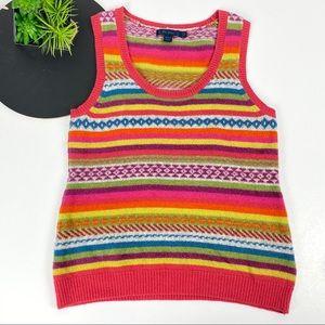 Boden Multi Color Stripe Sweater Vest 12R